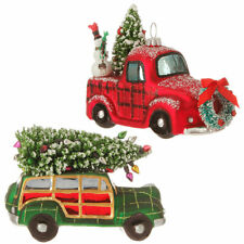 "Raz Imports 5"" Automobile with Christmas Tree Ornament Set of two (2)"