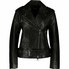 KARL LAGERFELD Blk SheepSkin 100% Real Leather Biker Jacket Sz:uk10/IT42