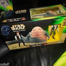 1997 Star Wars POTF JABBA THE HUTT + HAN SOLO Power of the Force Trilogy figure