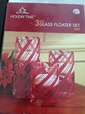 Holiday Time Three-Piece Glass Floater Candle Set, Red