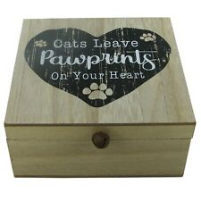 Cat Memory Box Keepsake Cat's Leave Pawprints On Your Heart Ashes Box Wooden