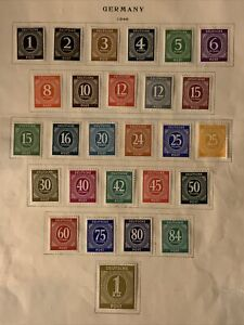 P334 German WWII Stamps Hitler Scott 530-555 Complete Set 27 MOGHR On Page Nice