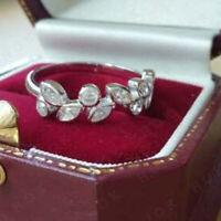 1.00Ct Marquise & Round Diamond Engagement Wedding Band 14K White Gold Finish