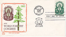 POSTAL HISTORY-1960 FDC 5TH WORLD FORESTRY CONGRESS ISSUE TRI-COLOR CACHET