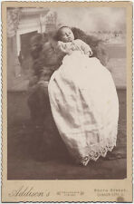 CABINET CARD, LITTLE SLEEPY BABY IN A FUZZY CHAIR. QUAKER CITY, OH.