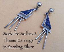 Inlayed Earrings Sailboat Style Dangles Taxco 925 Nice Sterling Silver Sodalite