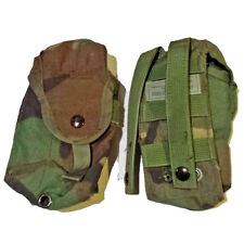 Lot 2 US Army Woodland Camo WC Molle Double Mag Ammo 30 Round Utility Pouches VG