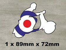 SCOOTER WITH MOD TARGET VINYL STICKER DECAL CAR VESPA LAMBRETTA
