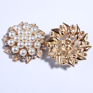 12PCS 30MM Vintage High Quality Round Sparking Ivory Pearl Buttons Embellishment