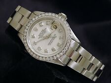 Rolex Datejust Lady Stainless Steel Watch White MOP Diamond Dial & Diamond Bezel