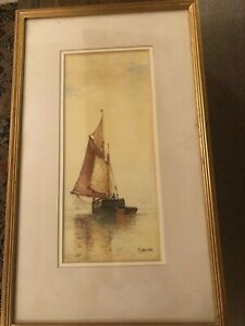 Watercolour painting - signed F J Aldridge - sailing boat