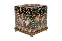 Beautiful Chinoiserie Black Floral Porcelain Tissue Box Holder Ormolu