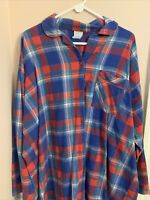 Vintage Carole Women's Button Up Flannel Sleep Shirt Gown Size XL