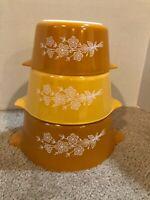 1979 PYREX Cinderella BUTTERFLY GOLD Casseroles #473-B #474-B #475-B w/ a Lid
