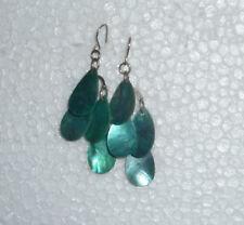 Turquoise Shell Drop Dangle Earrings Pierced