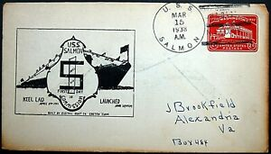 USS SALMON SS-182 15 March 1938~DRAWN CACHE FOR 1ST DAY IN COMMISSION ON SC U525