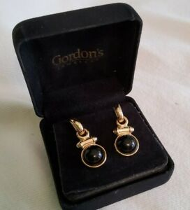 Vintage 14Kt Gold Black Cabochon Pierced Post Changeable Earrings 6.4 grams