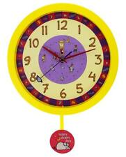 Yellow Nursery Rhyme Hickory Dickory Dock Silent Sweeping Seconds Quartz Wall