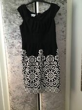 LONDON TIMES BLACK & WHITE SHIFT DRESS SIZE 10