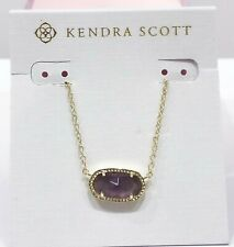 NEW Authentic KENDRA SCOTT Elisa 513 Gold Purple Amethyst Pendant Necklace