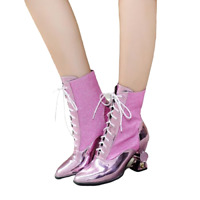 Womens Sequins Lace up Pointy Toe Block Mid Heels Pointy Toe Riding Ankle Boots