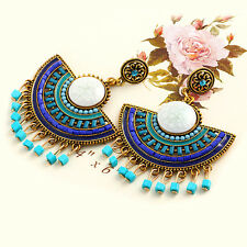 1 Pair Women's Korean Binglie Flower Tassel Fan Earrings Ear Stud Jewelry
