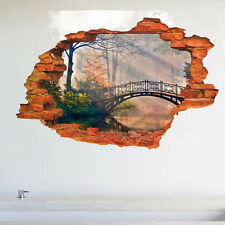 3D Crack Hole In Wall Decals Bridge Wall Sticker PVC Art Decals Home Decor Mural