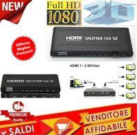 SPLITTER SDOPPIATORE FULL HD 1080P UHD 4K 3D 1x4 4 USCITE HDMI AMPLIFICATE PS3