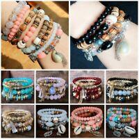 4Pcs/set Men Women Boho Multi-layer Natural Stone Bangle Bead Bracelet Jewelry