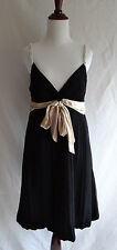 BCBG Max Azria 8 Black Silk Crepe Crinkle Bubble Cocktail Dress Beaded Straps