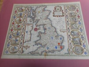 100% ORIGINAL LARGE SAXON HEPTARCY MAP BY JOHN SPEED C1676 VGC HAND COLOURED