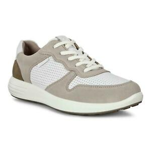 ECCO SOFT 7 RUNNER MEN'S PERFORATED SNEAKERS, Moon Rock/White, Sz 9-9.5 $180 NEW