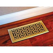 Accord Polished Brass WICKER FLOOR VENT with Fully Adjustable Damper 15x35cm