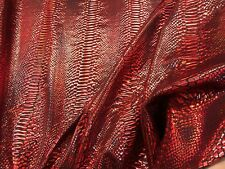 RED IRIDESCENT SNAKE SKIN PRINT ON A NYLON 2 WAY STRETCH SPANDEX-SOLD BY YARD.
