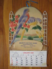 vtg Germany embossed die cut CALENDAR Hamlin PA Browns Store antique parrot bird