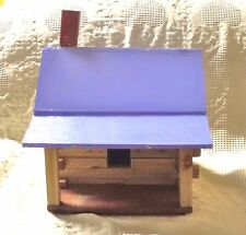 Handmade Log Cabin Birdhouse With Front Porch