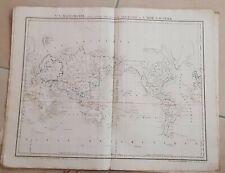 CARTE GEOGRAPHIQUE ANCIENNE coloriée: MAPPEMONDE (garantie authentique.19 eme)