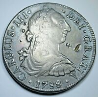 1788 Chopmarks Spanish Silver 8 Reales Eight Real US Colonial Dollar Pirate Coin