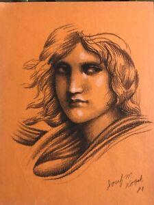 """Vintage Josef M. Kozak Original Art """"PORTRAIT DRAWING Of A MAN"""" Signed Unframed"""