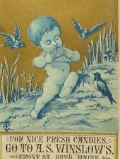1870's-80's A.S Winslow's Candies Cherub Pan Flute Forest Birds P50