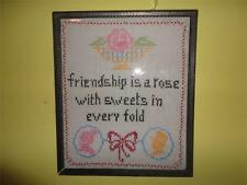 Antique Cross Stitch FRIENDSHIP is a Rose Silhouette Sampler Picture Wood Frame