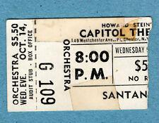 Original 1970 Santana concert ticket stub Capitol Theatre Porrt Chester Abraxas