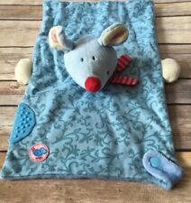 Haba Blue Mouse Security Blanket Lovey Teether Finger Puppet Pink Red Scarf