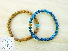Couple Wooden/Jasper Natural Gemstone Bracelet 7-8'' Elasticated Healing Stone