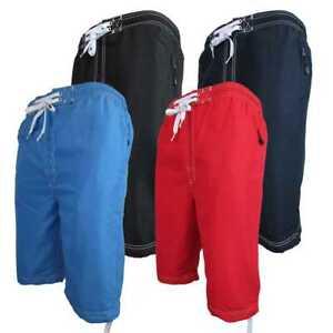 Mens Location Long 3/4 Length Knee Short Summer Woven OTK Swim Shorts Swimming