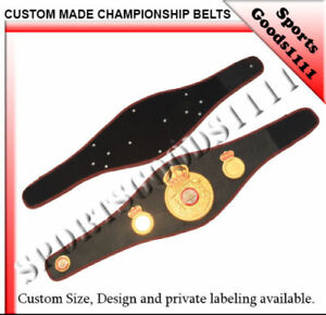 "WBA Boxing Replica Championship Belt 4 Metal Plates Black Artificial Leather 48"""