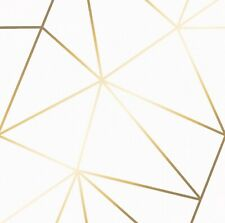 ZARA SHIMMER METALLIC WALLPAPER, IN WHITE / GOLD LOT OF 2 RETAILS $134