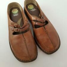 """Gelron 2000 Womens Shoes SZ 10 Brown Leather Clogs Mules 1"""" Heel Earth Shoe"""
