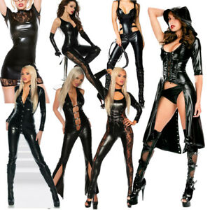 Sexy Women Latex Jumpsuit Leather Catsuit Bodysuit Costumes Wetlook Clubwear Zip