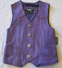 GIRLS TODDLER KIDS PURPLE BIKER MOTORCYCLE WESTERN COWGIRL LEATHER VEST MEDIUM